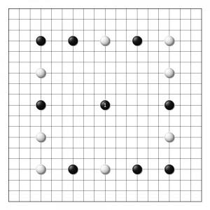 расстановка камней и первый ход в традиционном корейском бадук (корейское название игры Го)